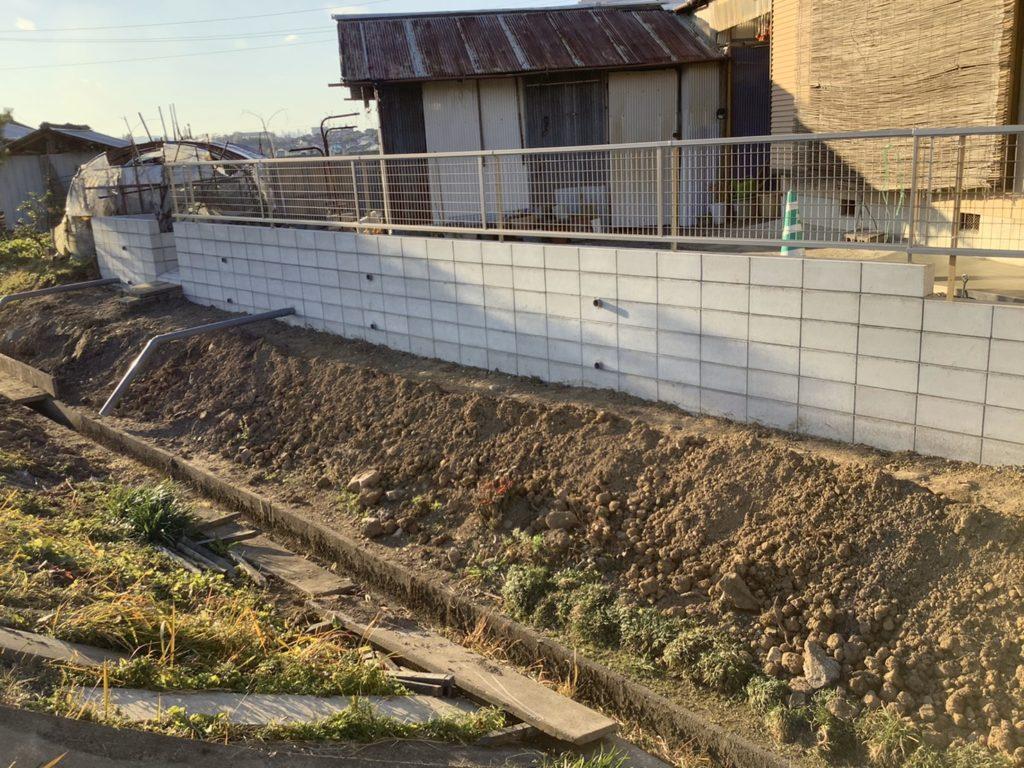 境界土留めブロック工事