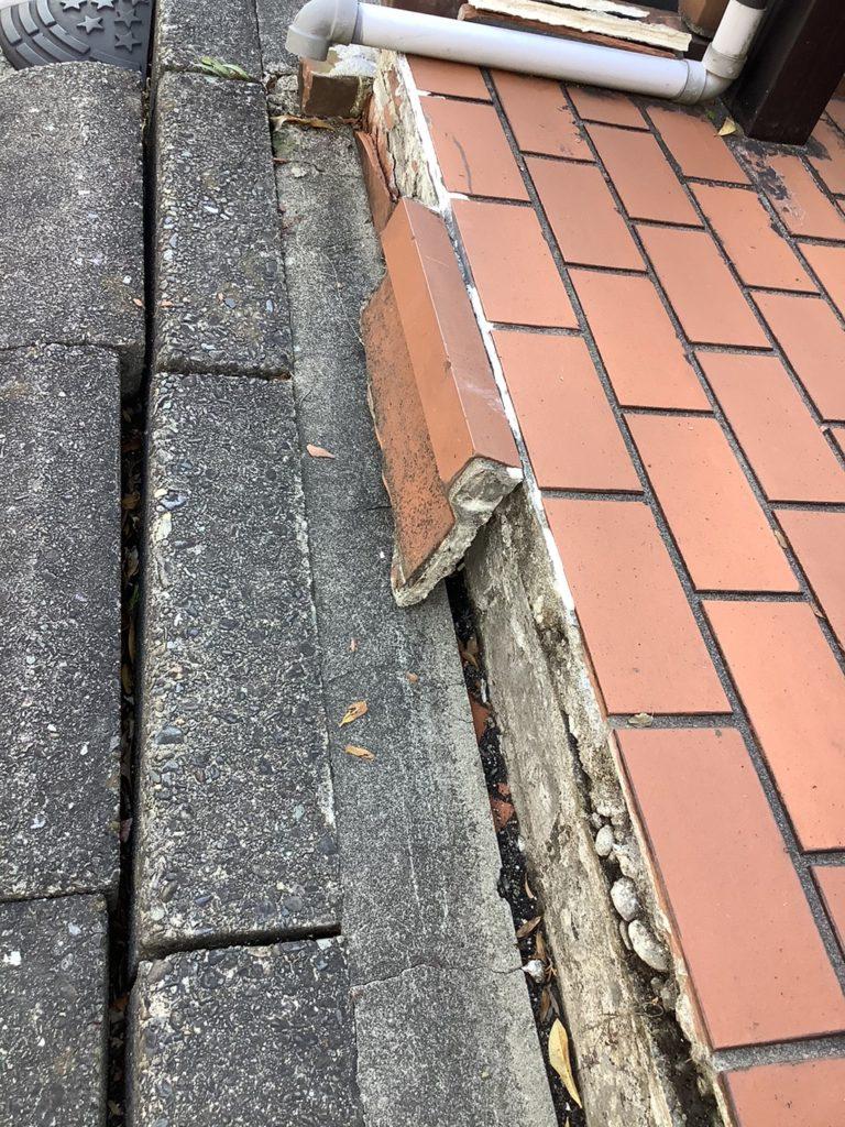 玄関ポーチレンガタイル張り替え工事