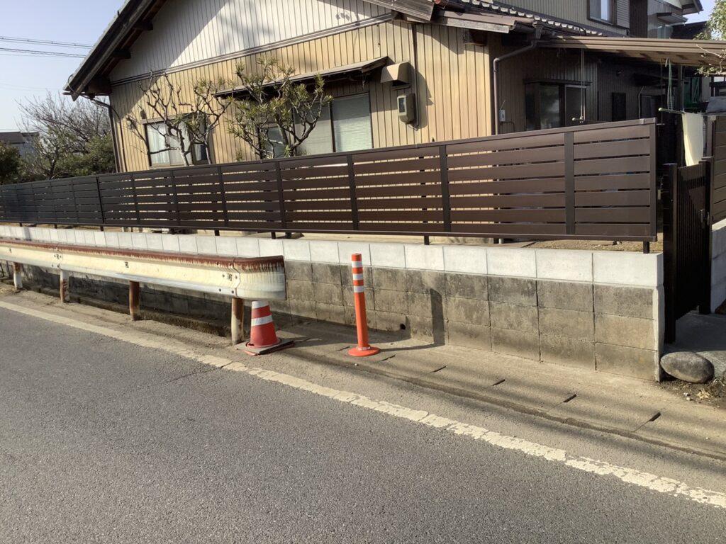 ブロック段下げフェンス・門扉工事